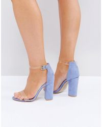 Truffle Collection - Wide Fit Perspex Block Heeled Sandals - Lyst