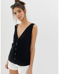 ab06bba2 ASOS - Button Through Vest In Crinkle - Lyst