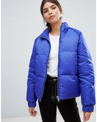 Y.A.S - Zip Through Padded Jacket With Velvet Trim - Lyst