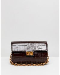 ASOS - Design Croc Structured Boxy Cross Body With Detachable Strap - Lyst