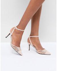 Dune Two Part Block Heel Scalloped Leather Sandal in Blush Outlet 2018 Newest u9v7qN1nTN