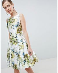 Forever Unique - Floral Print High Neck Prom Dress - Lyst