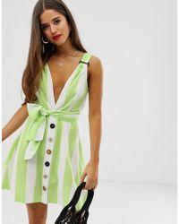 Moon River - Green Candystripe Mini Dress - Lyst