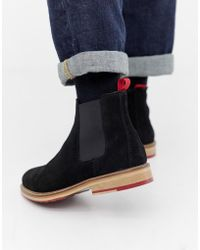 ASOS - Chelsea Boots In Black Suede With Red Cleated Sole - Lyst