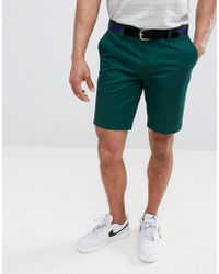 River Island - Slim Fit Chino Shorts With Belt In Green - Lyst