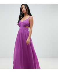 ASOS - Asos Design Petite Side Cut Out Maxi Dress With Cami Straps - Lyst