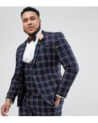 ASOS - Plus Wedding Super Skinny Suit Jacket In Navy Waffle Check - Lyst