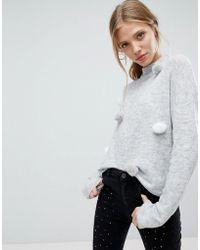 Bershka - Pom Pom Knitted Sweater - Lyst