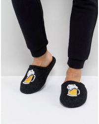 ASOS - Slip On Slippers In Gray With Beer Embroidery - Lyst
