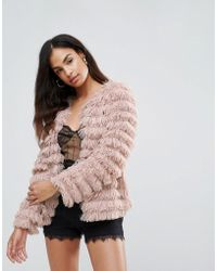Club L - Shaggy Layer Faux Fur Coat - Lyst