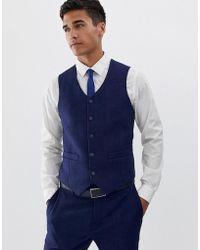 ASOS - Wedding Skinny Suit Waistcoat In Blue Wool Blend Herringbone - Lyst