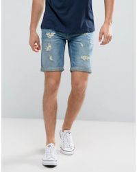 Blend - Ripped Denim Short Mid Blue - Lyst