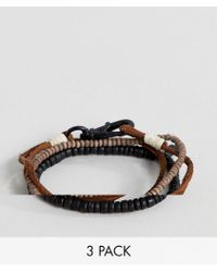 Icon Brand - Brown Leather & Beaded Bracelets In 3 Pack - Lyst