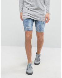 Bershka - Skinny Denim Shorts With Rips In Acid Wash - Lyst