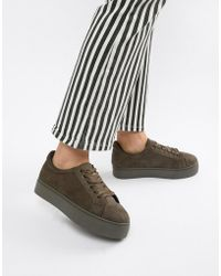 Pieces - Faux Suede Trainer With Ribbon Ties - Lyst