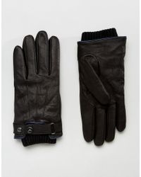 Armani Jeans - Leather Gloves In Black - Lyst