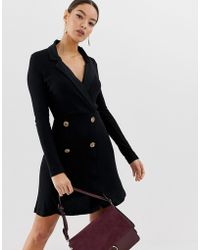 ASOS - Mini Rib Double Breasted Blazer Dress With Faux Horn Buttons - Lyst