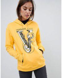 Versace Jeans - Printed Logo Pullover Hoodie - Lyst
