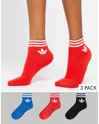 adidas Originals - Liner Sock 3 Pack In Red Blue And Black - Lyst
