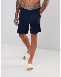 ASOS - Design Pyjama Shorts In Navy With Branded Waistband - Lyst