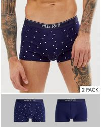 Lyle & Scott 2 Pack Of Blue Print And Solid Trunks
