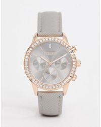 9bebe18d17a7 Missguided - Watch In Grey With Rose Gold Case And Stone Set Bezel - Lyst