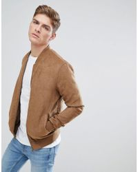 Solid - Faux Suede Bomber In Tan - Lyst