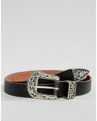 ASOS - Slim Belt With Vintage Brown Leather And Western Buckle - Lyst
