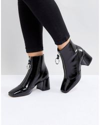 ASOS | Rosemary Patent Mid Heeled Boots | Lyst