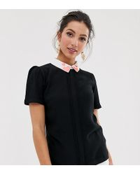 Oasis - Shell Top With Embroidered Heart Collar In Black - Lyst