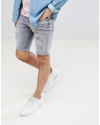 River Island - Denim Shorts With Open Rips In Grey Wash - Lyst