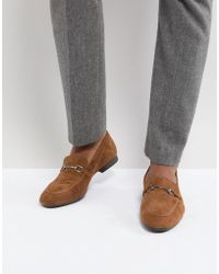 Dune - Bar Loafers In Tan Suede - Lyst