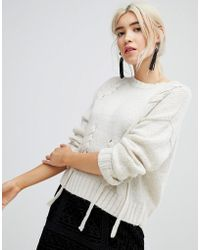 New Look | Threaded Lace Up Jumper | Lyst