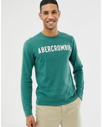 e877ed75 Abercrombie & Fitch Henley Long Sleeve Baseball Top With Contrast ...