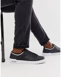 e4056d2e1 Tommy Hilfiger - Leather Trainer With Contrast Trim And Sole Branding In  Black - Lyst
