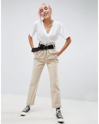 ASOS - Straight Leg High Waisted Pants With Belt - Lyst