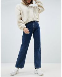 Weekday - Row High Waist Jeans In Win Blue In Organic Cotton - Lyst