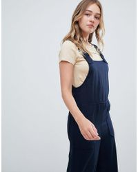 Monki - Wide Leg Dungarees In Navy - Lyst
