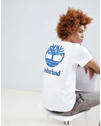 Timberland - Stacked Back Print Logo T-shirt In White - Lyst