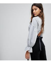 PRETTYLITTLETHING | Bow Back Cropped Blouse | Lyst