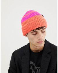 PS by Paul Smith - Block Stripe Wool Beanie In Orange - Lyst e6cb9ca0ff5