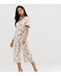 Oasis - Angel Sleeve Jumpsuit In Floral Print - Lyst