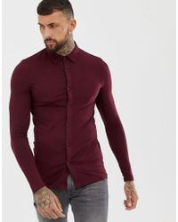 ASOS - Muscle Fit Button Through Jersey Polo In Burgundy - Lyst