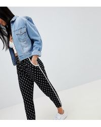 ASOS - Asos Design Petite Tapered Peg With Contrast Bind In Mono Aztec Print - Lyst