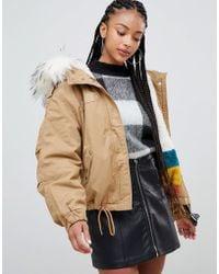 Bershka - Short Parka With Faux Fur Hood In Khaki Brown - Lyst