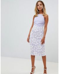 Girl In Mind - Tammy Lace Midi Dress Lilac - Lyst