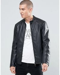 Armani Jeans - Biker Jacket In Faux Leather - Lyst