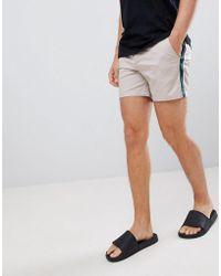 ASOS - Skinny Shorter Shorts In Beige With Green Side Stripe - Lyst
