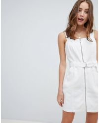 Miss Selfridge - Pinafore Dress With Zip Detail In White - Lyst
