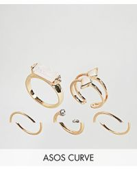 ASOS | Pack Of 5 Faux Opal Rings | Lyst
